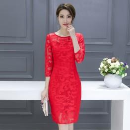 6842 yarn embroidery slim temperament dress
