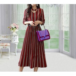 8323 women's long sleeve temperament striped dress