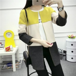 632 round neck color mathcing wool jacket