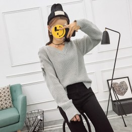 5542 fashion pullover lacing sleeve sweater