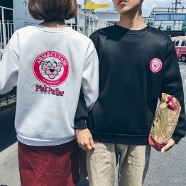 530 ulzzang round necklace cartoon pink leopard couple sweatshirt