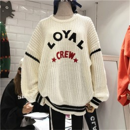 8186 Women's loose round neck letters long sleeve sweater