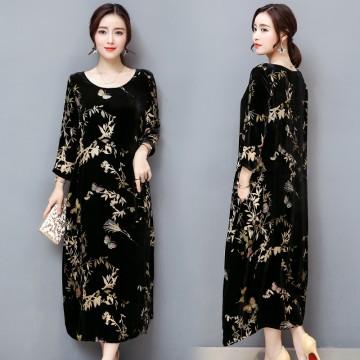 1309 black gold velvet mulberry silk blended retro printing dress
