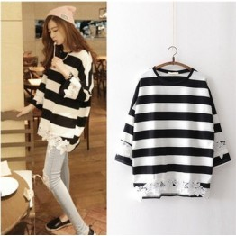 001 breast-feeding stripes large size lace T-shirt