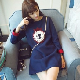 601 round neck pinch embroidery long sleeve pregnant women dress