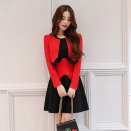 2617 Contract color slim dress with little jacket