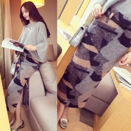 8251 temperament contract color woolen slit half skirt