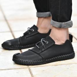 37370 rubbing belt wear-resistant soft bottom flat casual leather men's shoes