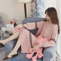 3502 Korean fashion sweet and lovely round neck knitted dress
