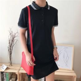 193 Korean fashion slim waist polo dress