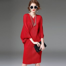 8788 large size women's fashion temperament bat sleeves red loose dress
