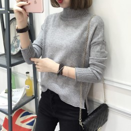 6102 high collar slim pullover sweater