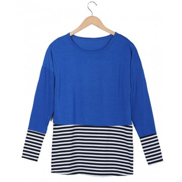 2081 loose large size stripes splicing long sleeve T-shirt