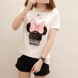 1688 cartoon sequins large size short sleeve t-shirt