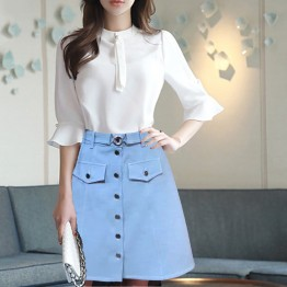 10194 Korean belt decorated A-line skirt