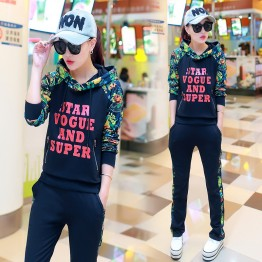 245 autumn fashion trend Hooded printing casual tracksuit