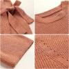 3648 Korean fashion sweet bow long sleeve split knitting dress