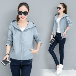 869 spring and autumn loose short hooded wind coat