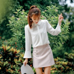8650 Korean fashion diamond lapelchiffon shirt