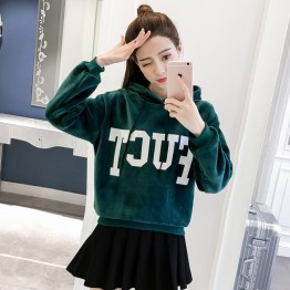 1821 Korean fashion hooded gold velvet sweatshirt