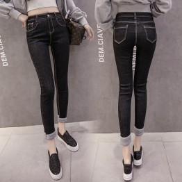 910 high waist high-elastic pencil jeans