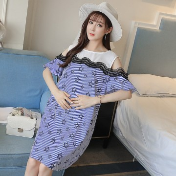 8528 hollow offshoulder stripes fashion large size maternity dress