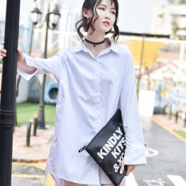 8699 oversize summer long sleeve long shirt with belt
