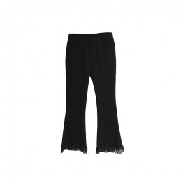 0090 chiffon splicing stretch boot cut pants