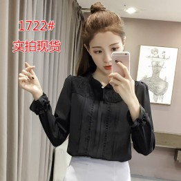 1722 Korean version long sleeve lace sweet shirt