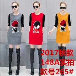 265 woolen knitting sleeve splicing dress