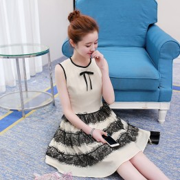 2199 lace decoration bowtie sleeveless dress