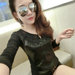 5056 PU leather splicing sexy yarn long sleeves shirt