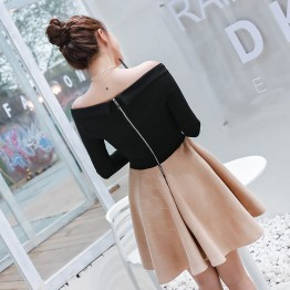 8339 slim sexy backless boat neck bubble skirt dress