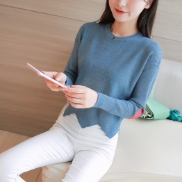 258 women's round neck irregular love embroidery short sweater
