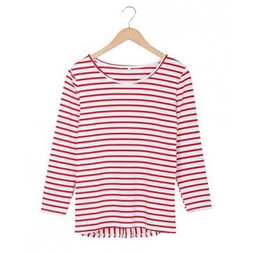 2071 stripes round neck lotus leaf hem long sleeves t-shirt