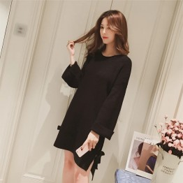 3648 Korean fashion sweet bow long sleeve split knitting dress
