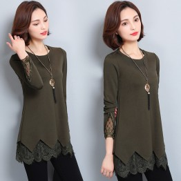301 women's trendy lace bottom shirt