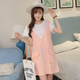 8525 pink pregnant women loose cotton large size dress