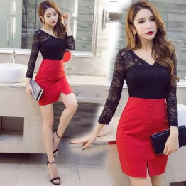 7099 slim sexy ladies lace splicing tight hip dress