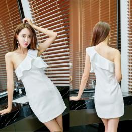 2337 sexy slant shoulder lotus leaf slim tight hip dress