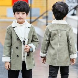 7301 Winter children's trend deerskin leather lapel warm jacket