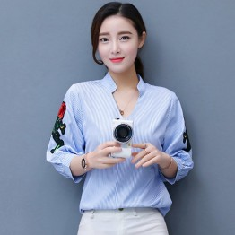 1110 embroidered roses stripes shirt