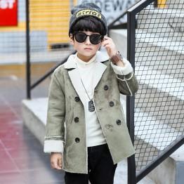 7301 Winter children's trend deerskin leather lapel warm jacket