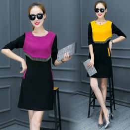 252 Korean fashion slim color matching dress