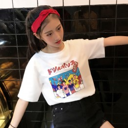 9266 Japanese style Harajuku print loose lovers cotton t-shirt