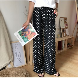 178 retro drawstring high waist dot wide leg pants