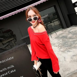 5811 Korean fashion color matching V-neck trumpet sleeve sweater