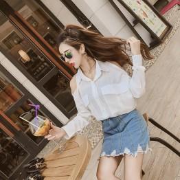 6645 Korean temperament chest pocket long sleeves off shoulder lapel collar shirt