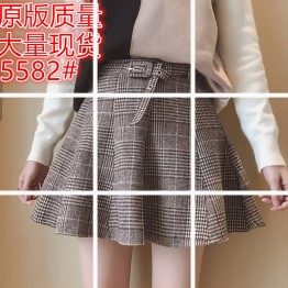 5582 Korean fashion lattice stripes lotus leaf skirt skirt pants