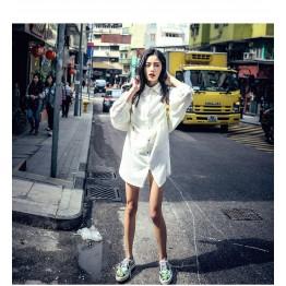 6098 black and white texture long oversize shirt dress